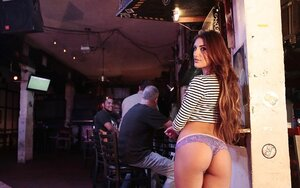 Kitten with hot face and additionally natural boobs does mind blowing strip in the pub
