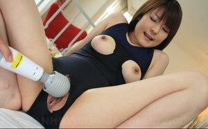 Japanese cutie pie in ripped swimsuit creampied after encounter with fellow