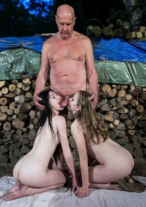 Girls are so hot and wild that old stepfather does them together outdoors