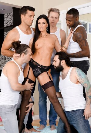 Black fella and four white studs bang skinny MILF in all welcoming holes