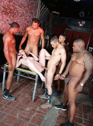 Risque chick was fucked by all the black men in the pub who wanted her