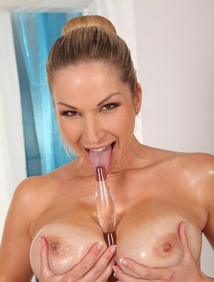Hot blonde masseuse touches massive love bubbles of customer and plus toys her cunt