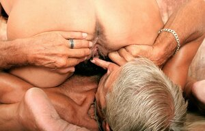Grown-up man has just to lick and drill unshaved pussy of flabby but naughty wife