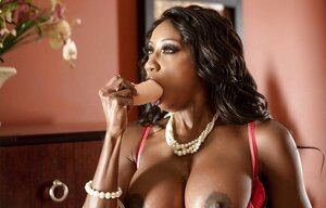 Black worship can't suffer sexual drive anymore and takes dildo to sneak into snatch