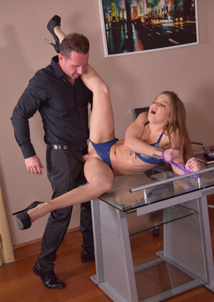 Freshly youthful secretary tied up and properly assfucked by imperious boss