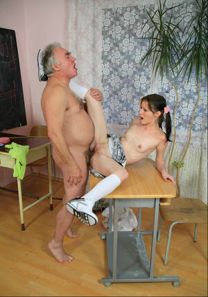 Provocative skinny Russian girl Iren is fucked by an more experienced teacher