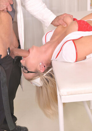 Doctor misuses nurse in red high heels for his own carnal urges assfucking her